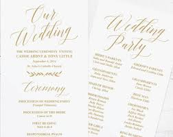 programs for a wedding gold wedding program etsy