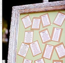 wedding table assignment board ivory and brown cardstock printed with guests names separated by