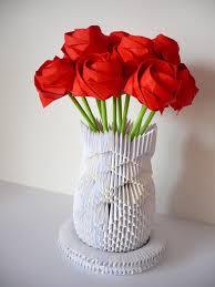 Origami 3d Flower Vase Origami Rose Vase By Frecmenta On Deviantart