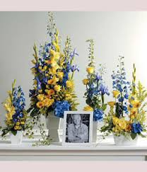 memorial flowers memorial flowers in blue and yellow neubauer s flowers