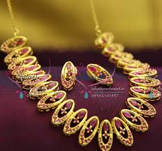 gold stones necklace designs images Nl2654 gold plated ruby stones oval design necklace earrings party JPG