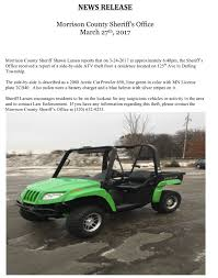 side by side atv theft from darling township hometown news