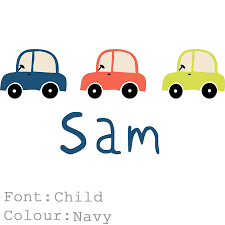 car name fabric wall stickers by littleprints notonthehighstreet com car name fabric wall stickers