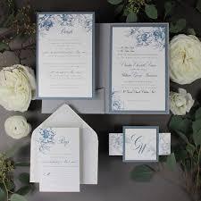 Invitation Pocket Dusty Blue Romantic Calligraphy Wedding Invitation Pocket Suite