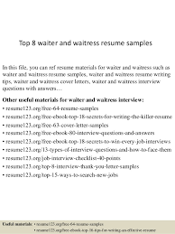 Waitress Resume Sample Skills by Resume Example For Waiter Resume Templates
