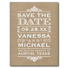 Rustic Save The Date Burlap Modern Vintage Save The Date Postcard