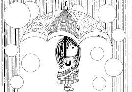 Petite fille sous la pluie  Retour en enfance  Coloriages