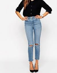 High Waisted Colored Jeans Womens Ripped Jeans Destroyed U0026 Busted Knee Jeans Asos