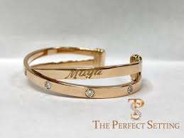 Monogram Bangle Bracelet Criss Cross Rose Gold Stacking Cuff Bracelet U2013 The Perfect Setting