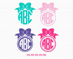bow monogram girl bow monogram frames svg bow svg cricut files frame