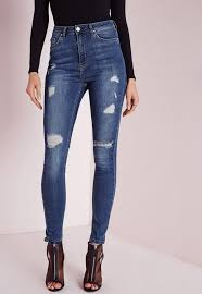 Light Wash Ripped Skinny Jeans Tall Sinner High Waisted Ripped Skinny Jeans Vintage Blue Missguided
