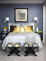 Navy And Yellow Bedding Yellow And Gray Ikat Stool Contemporary Bedroom Bhg