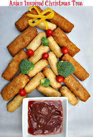an asian inspired christmas tree appetizer with tai pei