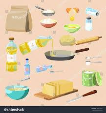 cooking set baking ingredients kitchen tools stock vector