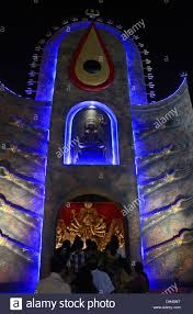 Decoration Of Durga Puja Pandal Decorated Outer Gate Of Pandal During Durga Puja Festival At