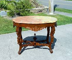victorian marble top end table walnut victorian marble top turtle top parlor center l table