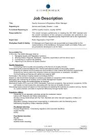 regulatory affairs resume sample job description for quality control manager resume sample job responsibilities of qaqc manager