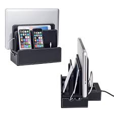 leatherette smart multi device charging station with usb ac power