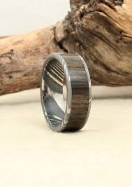 silver wood rings images Hand wrought twisted damascus interior steel and bog oak wood ring JPG