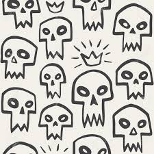 doodle evil skulls seamless pattern cute cartoon sculls with