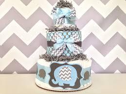 chevron elephant diaper cake blue and gray baby shower centerpiece