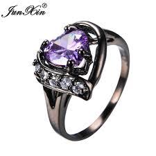 bridal fashion rings images Junxin elegant women purple heart ring with aaa zircon black gold jpg