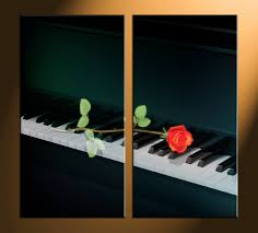 musical home decor 2 piece black piano music canvas wall art