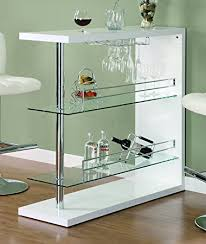 Glass Bar Table Coaster Bar Table With Two Glass Shelves In Gloss