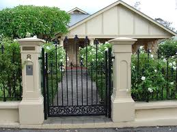 Pillars Decoration In Homes by Rendered Brick Pillars And Fence With Iron Work Gate And Fence