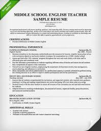 middle english teacher resume sample 2015