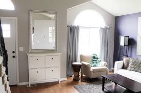 built in shoe cabinet console and counter with mirror at entrance