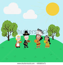 pilgrims indians illustration thanksgiving day illustration stock