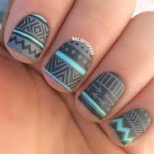 love this matte grey and mint tribal u201d rhinstone nails