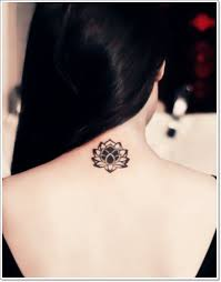 adorable small lotus flower on back neck