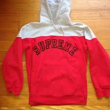 red u0026 grey supreme hoodie on the hunt