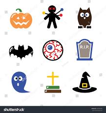 halloween black icons set pumpkin witch stock vector 221067466