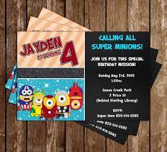 minion birthday party invites novel concept designs despicable me avenger superhero minions