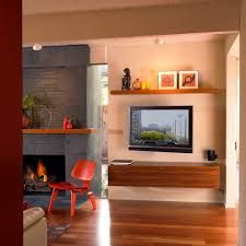 Tv Accent Wall by Floating Shelf For Tv Family Room Contemporary With Accent Wall