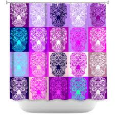 Pink And Purple Curtains Shower Curtain With Skulls Print Pink And Purple Shower