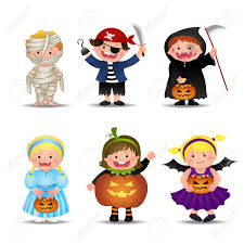 cartoon cute halloween kids in trick or treat costumes vector