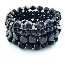 bracelet skull beads images Black wood skull beads pack bracelet spike look jpg