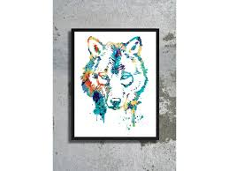 art print wolf painting wolf poster wolf wall art decor children