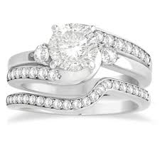 swirl engagement rings diamond swirl engagement ring band bridal set 14k white gold 0 58ct