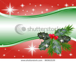 art image holly leaves and berries on a red and green christmas