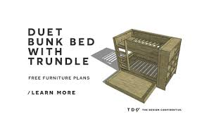 Free Diy Bunk Bed Plans by Free Diy Furniture Plans How To Build A Duet Bunk Bed The