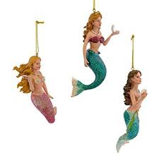 kurt adler 4 1 2 inch resin mermaid ornament set of 3