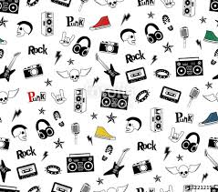 skull wrapping paper rock seamless pattern isolated on white rock and roll