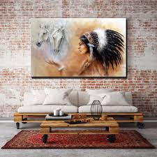 large wall art canvas indian with horses home decor paintings