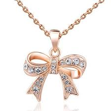 long chain bow necklace images Women charm lady jewelry pendant rose gold beautiful jpg