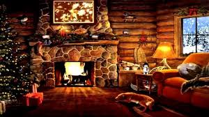 log cabin cozy fireplace snow outside christmas time at last